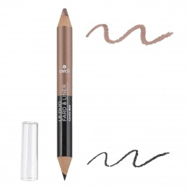 2 in 1 eyeshadow & liner Noir charbon/Taupe nacré - Certified organic