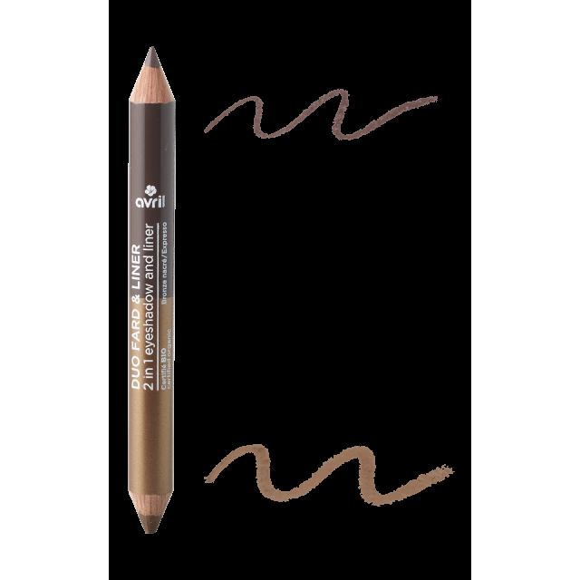 2 in 1 eyeshadow & liner Expresso/Bronze nacré  Certified organic