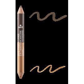 2 in 1 eyeshadow & liner  Expresso/Cuivre irisé  Certifié bio