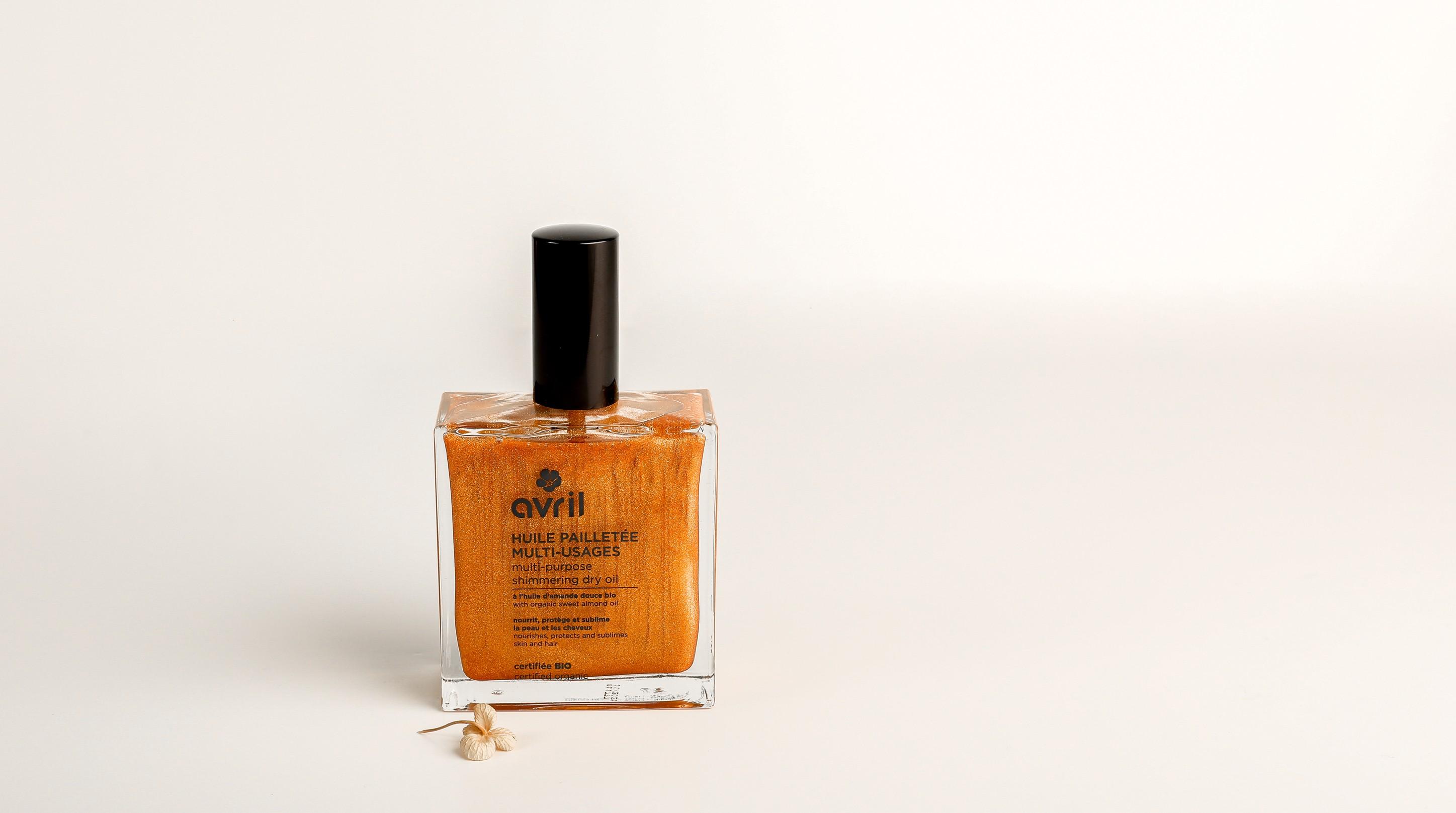 Organic shimmering dry oil
